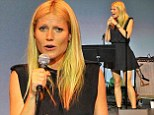 Gwyneth Paltrow is effortlessly stylish in an all-black ensemble as she performs onstage as Poetic Justice fundraiser