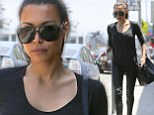 No need to wear black! A very slender Naya Rivera heads to the salon wearing a monochromatic ensemble featuring skin tight leather pants