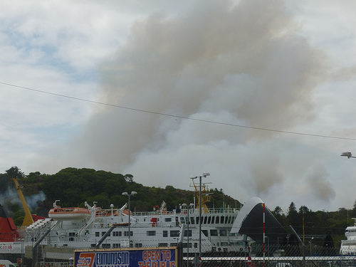 Plume of smoke from Castle Grounds fire, 14 June