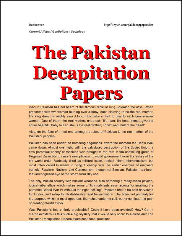 Backcover Pakistan Decapitation Papers 4th Edition