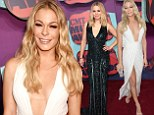 LeAnn Rimes and Kristen Bell compete for the most plunging gown at CMT Music Awards... and LeAnn just edges it