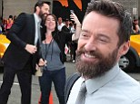 Suit you sir! Hugh Jackman dazzles in smart ensemble as he mingles with fans before spot on Late Show With David Letterman