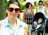 Mommy and me! Jamie-Lynn Sigler took her nine-month-old son Beau Kyle Dykstra for a walk in a stroller