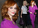 Christina Hendricks embraces end of Mad Men in '70s purple jumpsuit for screening... while January Jones looks bow-tiful