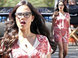 Geek chic: Jordana Brewster rocked cat-eye glasses and a red paisley dress on set of Fast & Furious 7 in Los Angeles on Tuesday