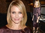 Cameron Diaz covers up in metallic burgundy dress with glitzy heels at Guys' Choice Awards