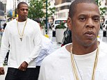 Jay Z leaves a New York office building on Saturday