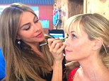 Make me pretty! Reese Witherspoon shared a snap of Sofia Vergara doing her make-up on set of Don't Mess With Texas on Friday