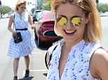 Cool chick: Dianna Agron stepped out in reflective sunglasses and a floral frock as she lunched at Quality Cafe in Los Angeles on Friday