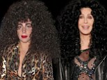 Is that you, Cher? Lady Gaga tries to Turn Back Time in crazy curly '80s wig and retro robe suit as she apes iconic singer