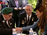 Honour: The Duchess of Cambridge meets two British soldiers who fought on the beaches of Normandy 70 years ago