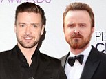'Two men can't talk about pizza via Twitter?' Justin Timberlake makes a date with bestie Aaron Paul to hangout and eat junk food