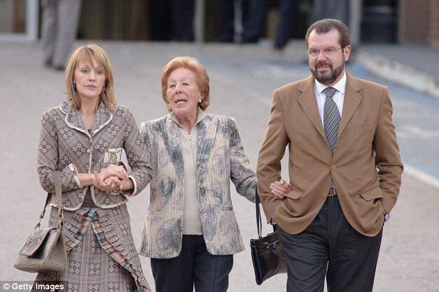 Family affair: Princess Letizia´s relatives Henar Ortiz Alvarez, left, Menchu Ortiz and Jesus Ortiz leave the Ruber Clinic in Madrid - her aunt has been outspoken about her political beliefs