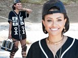 That outfit sucks! Vampire Diaries star Kat Graham flashes toned legs in a thigh-high pair of kinky gladiator heels