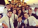High fliers! Ezequiel Lavezzi posted a group selfie of Argentina stars on their plane to Brazil