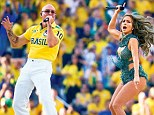 Popstar Jennifer Lopez helped kick off celebrations at the World Cup opening ceremony at the Arena de Sao Paulo in Brazil last night. She was joined by rapper Pitbull (main picture) as she performed the official World Cup song 'We Are One (Ola Ola)'. Despite joy for Brazilians (top right) at their team's opening night win over Croatia, and a carnival atmosphere around the host country (bottom right), viewers in Britain were left furious that poor sound quality left them unable to hear the tournament's heavily-hyped anthem.