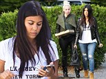 Eating for two! Pregnant Kourtney Kardashian gets pizza with gal pal in Southampton while clad in a 'LA Nueva NY' shirt