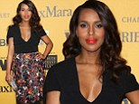 Kerry Washington arrives on red carpet for the first time since giving birth to daughter in April in painted black dress