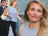 Cameron Diaz shows off her incredibly toned arms in sleeveless top as she arrives at Jimmy Kimmel to promote new film