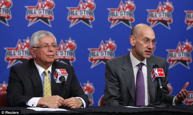 Current NBA commissioner Adam Silver (right) and his predecessor David Stern (left) are allegedly being targeted by the firms, as are the league's other owners