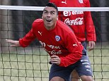 Chile national soccer team player Esteban Paredes (front) during his team morning training session