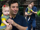 Proud papa: Jimmy Fallon appeared grateful as he stepped out with his daughter Winnie in New York City on Friday