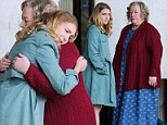 Sophie Nelisse and Kathy Bates share a tender embrace while filming an emotional scene in The Great Gilly Hopkins