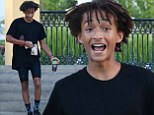 Just the tonic! Jaden Smith grabs early morning green juice as he wears Spandex cycling shorts for a day in Malibu