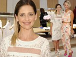 Sarah Michelle Gellar looks chic in embroidered shift dress as Kaley Cuoco highlights her slim figure in floral two-piece at clothing launch