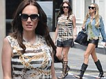 Great minds...: Tamara Ecclestone and sister Petra step out in MATCHING leather hotpants and equally eye-catching sandals