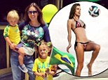 'Let's do this Brasil!' Alessandra Ambrosio strips to a bikini for a kickabout as she celebrates the start of the World Cup with her kids
