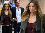 She's a total natural: Model Jessica Hart looks camera-ready even without a scrap of makeup and super casual clothes strolling through New York with her boyfriend