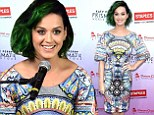 Katy Perry arrived to the event rocking her always-changing locks and a colorful geometric-print frock