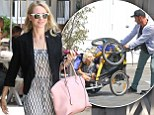 Glammed up Naomi Watts steps out looking stylish while her beau Liev Schreiber is left juggling the kids on babysitting duty