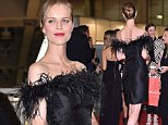 Rustling a few feathers! Eva Herzigová's legs look endless in chic black dress complete with fluffy neckline at Milan charity event