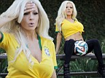 A game of two halves! Courtney Stodden alters Brazil jersey to flash her cleavage as she bounces football in celebration of the World Cup