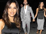 Eva Longoria is the epitome of chic in striped skirt and black top while out to dinner with boyfriend Jose Antonio Baston