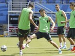 Mexico players train before their clash with Cameroon