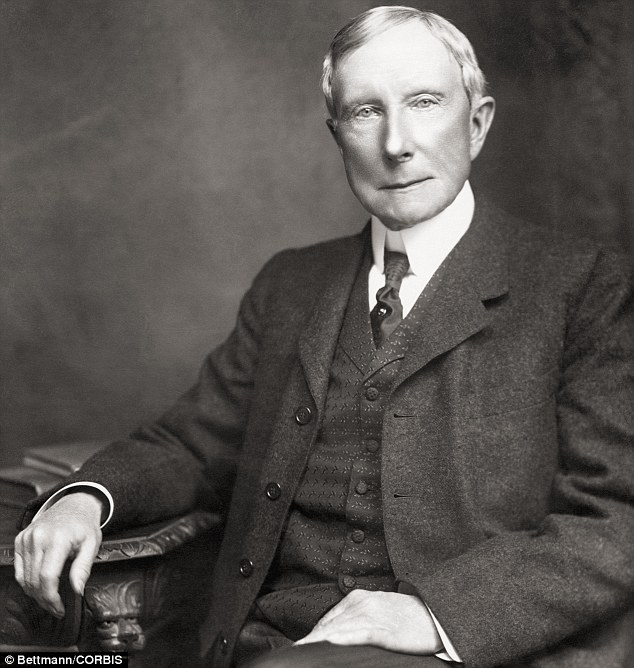 American industrialist John D. Rockefeller, head of the American industrial, political and banking dynasty. His great-grandson Richard Rockefeller died in a small plane crash today