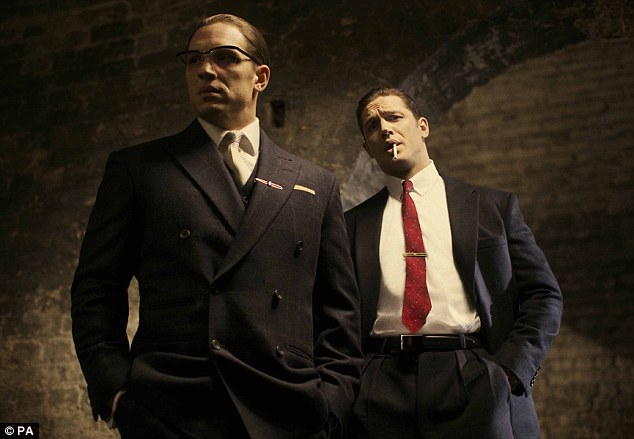 First look: Hardy in his latest roles as Ronnie (left) and Reggie Kray in the film, Legend