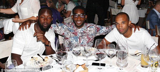 Party time! Tinie Tempah and his pals at the Gumball 3000 closing party in Ibiza on Thursday night