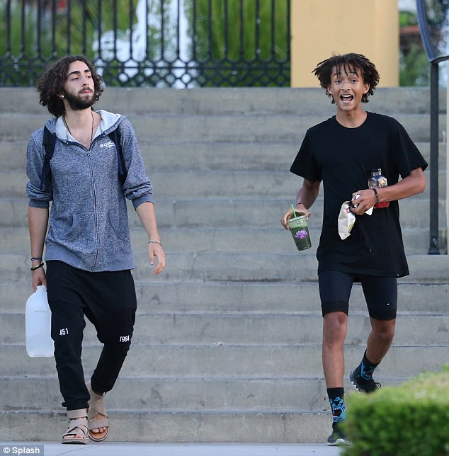 Feeling perky: Jaden Smith flashed a smile as he grabbed snacks with friend Mateo Arias in Malibu, California, on Thursday