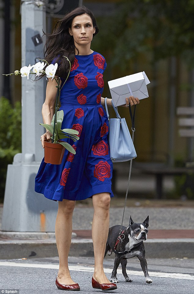Blooming gorgeous! Famke clearly favours florals - her floral summer dress matched the stunning white orchid