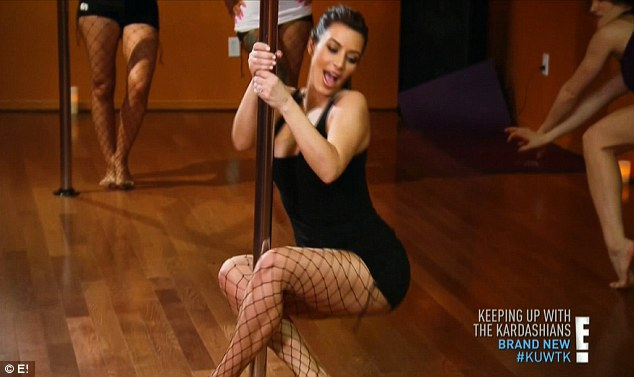 Staying in shape: Kim showed off her curvaceous figure during her pole dancing lesson