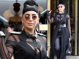 Fifty Shades Of Gaga! Popstar steps out in plunging bondage inspired outfit in NYC