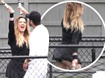 Missing from the action: Kourtney, right, has also been in the Hamptons and is pregnant with her and Scott's third child