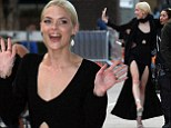 That¿s one way to make an entrance! Jamie King parades her slender pins in double split black dress as she attends The Rover LA premiere