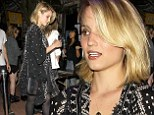 Back in black: Dianna Agron wore a black robe covered in exotic white designs over a lacy black nightie style dress to catch a Jack White concert in LA on Wednesday night