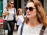 Brooke Shields, 49, is youthful in skinny leather trousers and crochet top on outing with daughter Rowan in New York