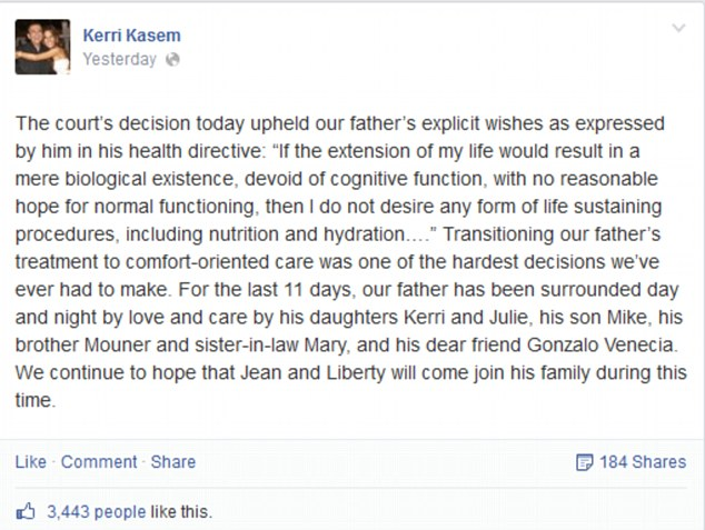 Update: In a Facebook post Kerri Kasem announced that her father had been removed from life support